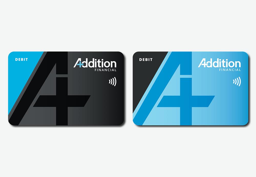 Addition Financial black & blue debit card designs